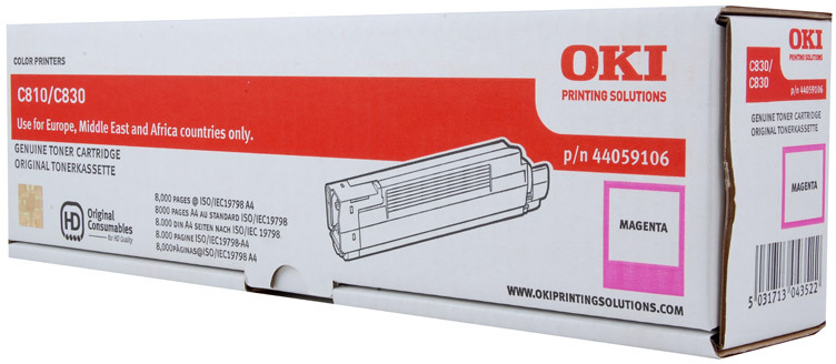 Тонер-картридж OKI 44059118 для C810, C830 пурпурный (8,000 стр.)