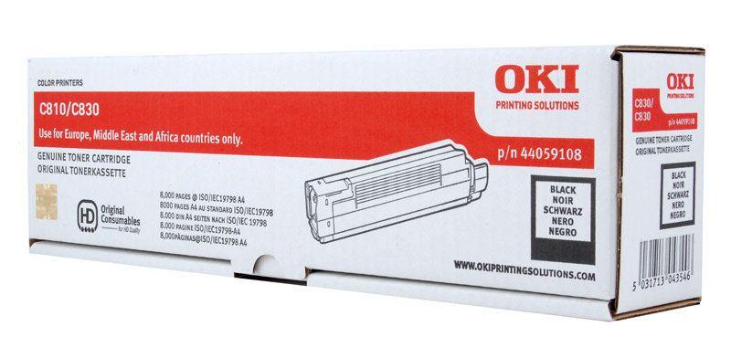 Тонер-картридж OKI 44059120 для C810, C830 черный (8,000 стр.)